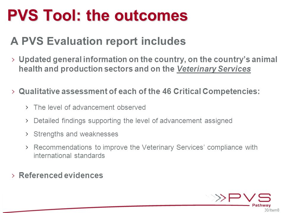 PVS Tool: the outcomes A PVS Evaluation report includes