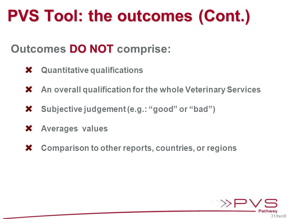 PVS Tool: the outcomes (Cont.)