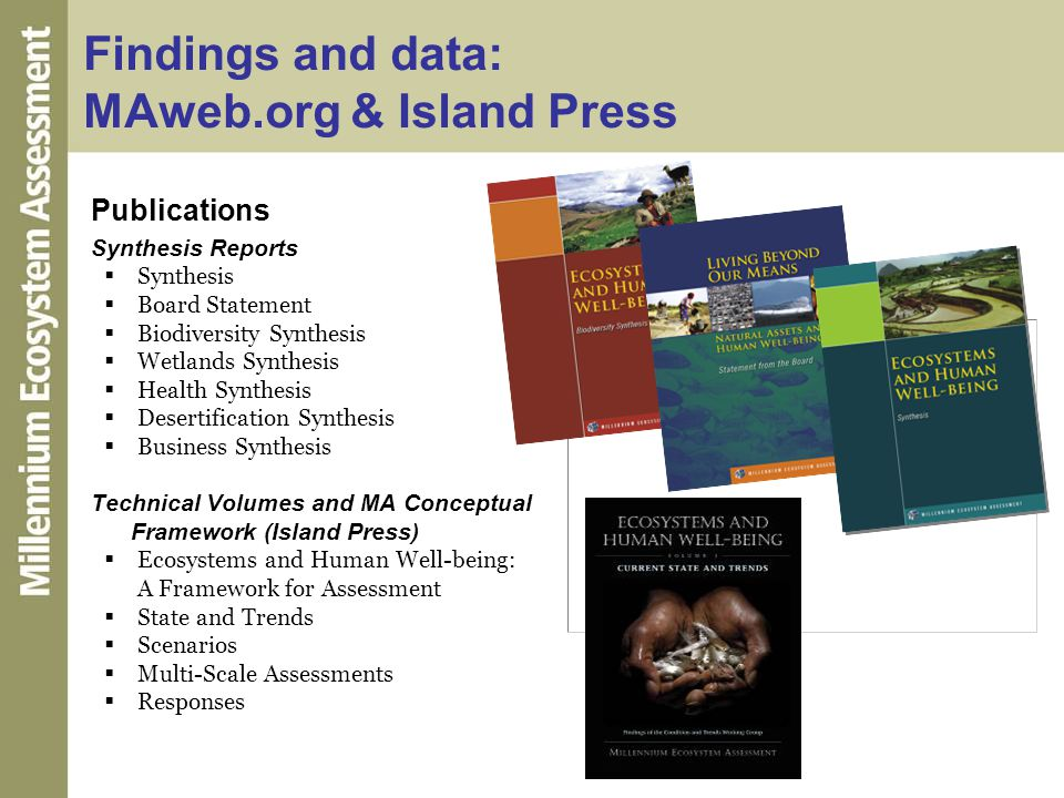 Findings and data: MAweb.org & Island Press