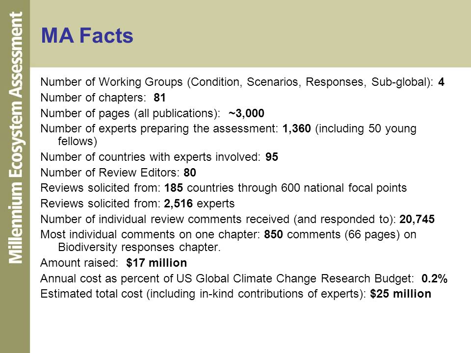 MA Facts Number of Working Groups (Condition, Scenarios, Responses, Sub-global): 4. Number of chapters: 81.