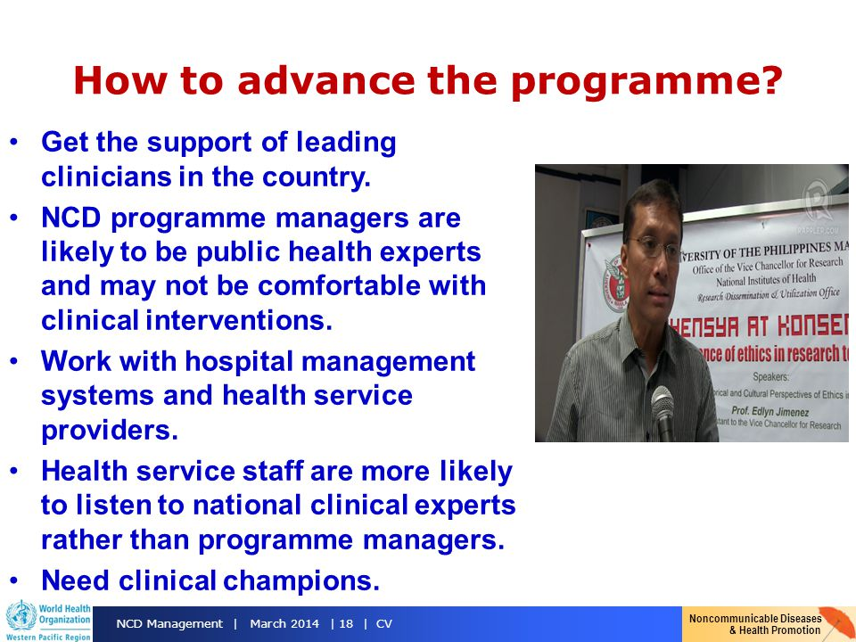 How to advance the programme