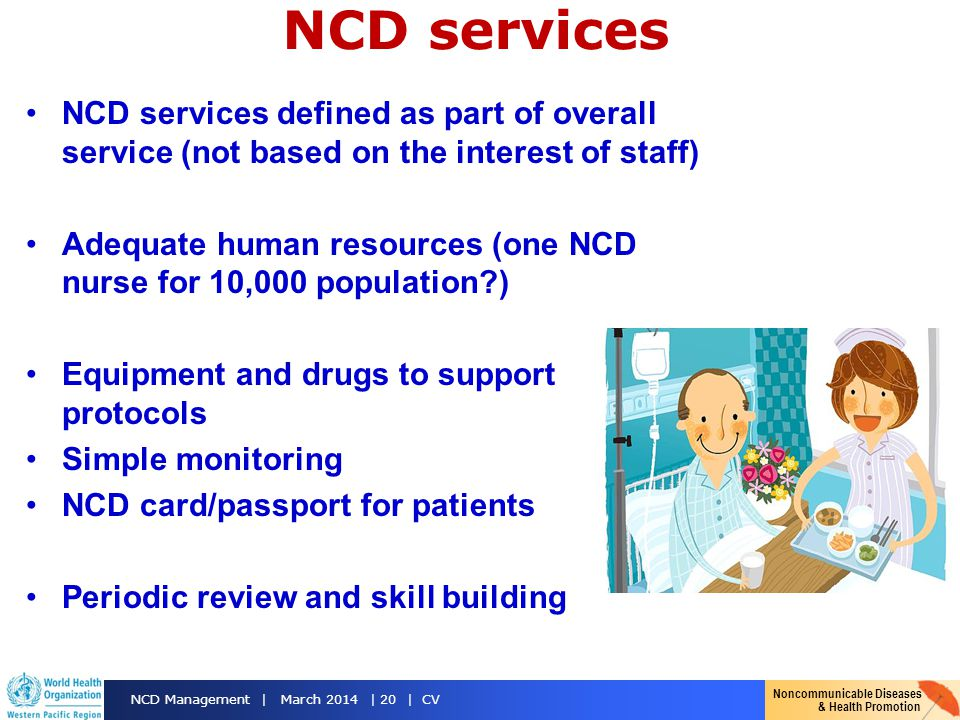 NCD services NCD services defined as part of overall service (not based on the interest of staff)