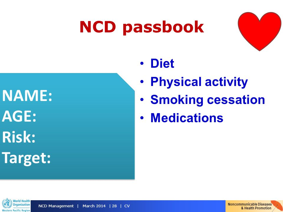 NAME: AGE: Risk: Target: NCD passbook Diet Physical activity