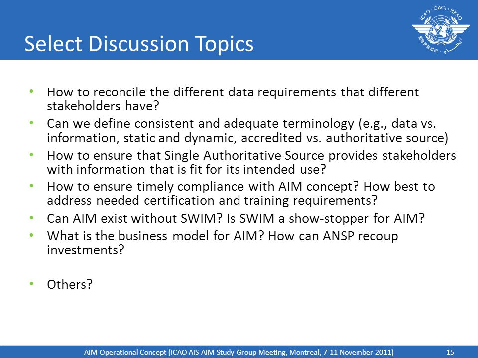 Select Discussion Topics