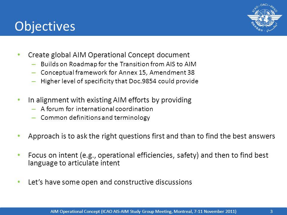 Objectives Create global AIM Operational Concept document