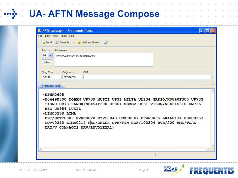 UA- AFTN Message Compose