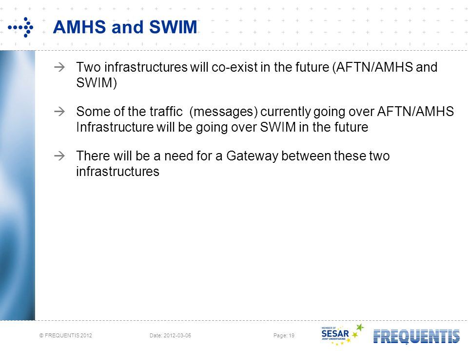 AMHS and SWIM Two infrastructures will co-exist in the future (AFTN/AMHS and SWIM)