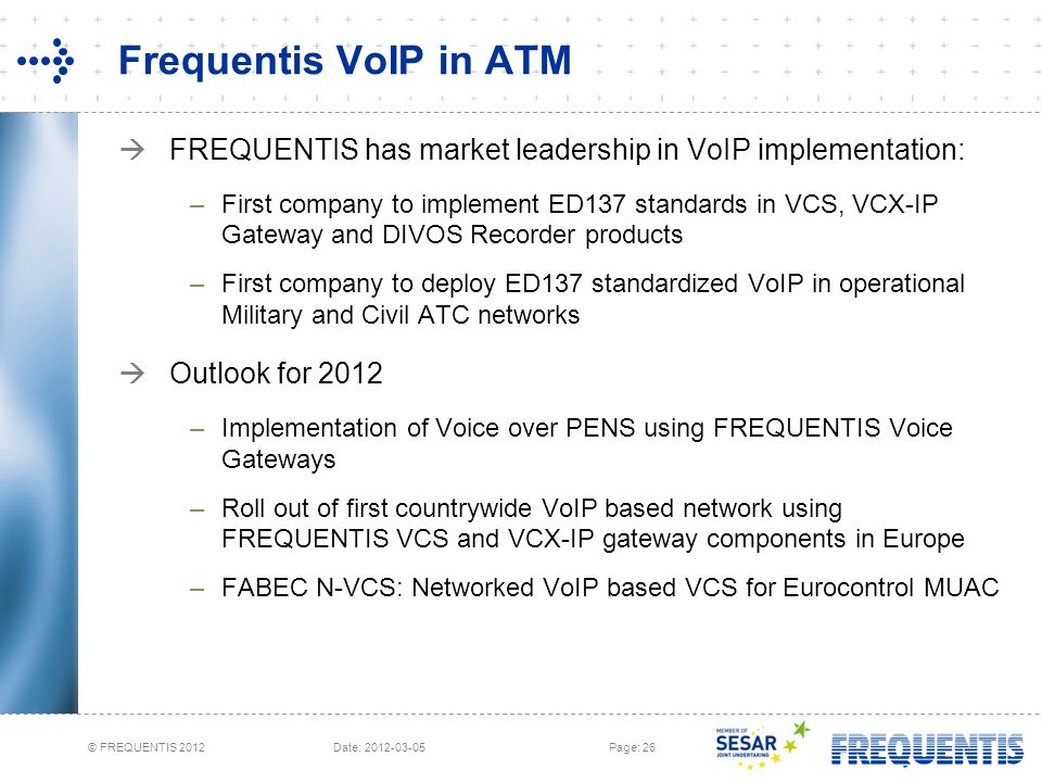 Frequentis VoIP in ATM FREQUENTIS has market leadership in VoIP implementation: