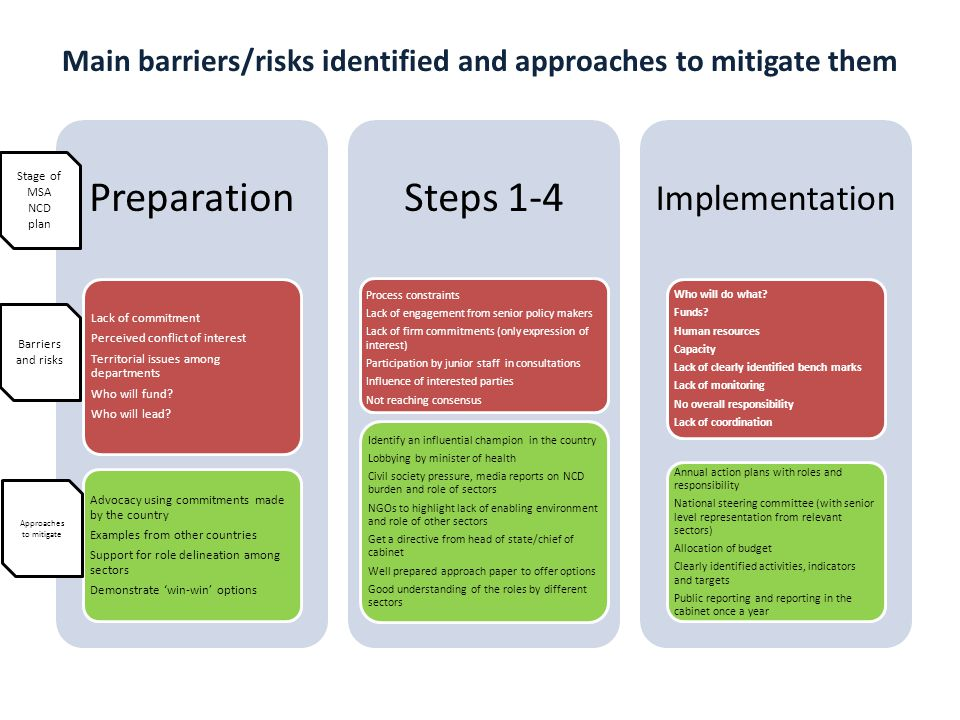 Main barriers/risks identified and approaches to mitigate them
