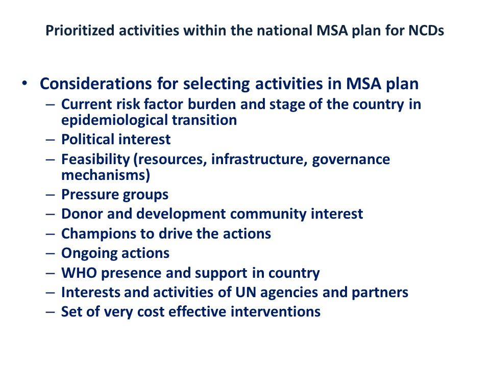 Prioritized activities within the national MSA plan for NCDs