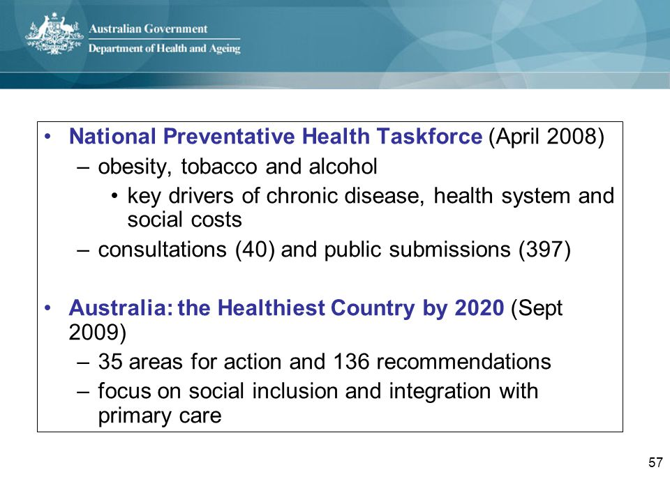 National Preventative Health Taskforce (April 2008)