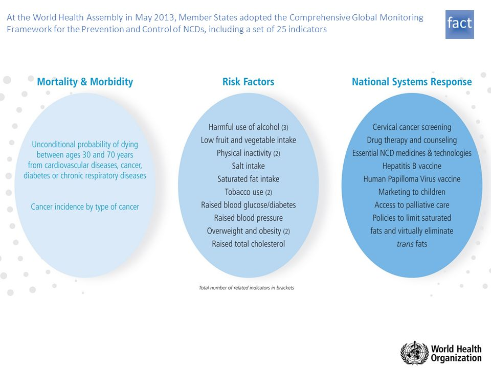 At the World Health Assembly in May 2013, Member States adopted the Comprehensive Global Monitoring Framework for the Prevention and Control of NCDs, including a set of 25 indicators