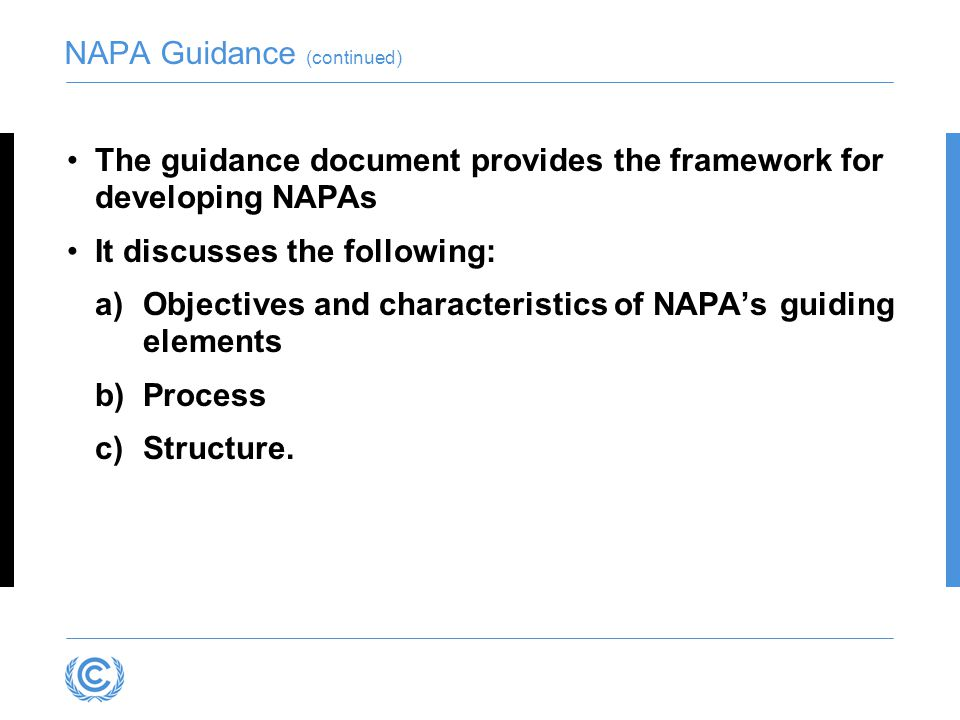 NAPA Guidance (continued)