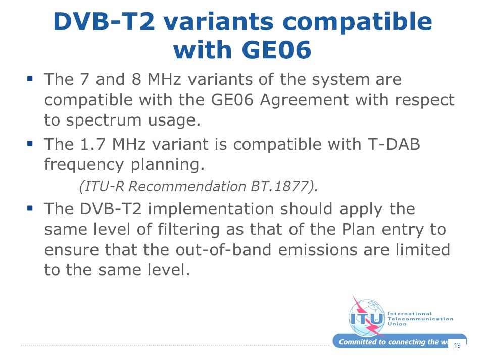 DVB-T2 variants compatible with GE06
