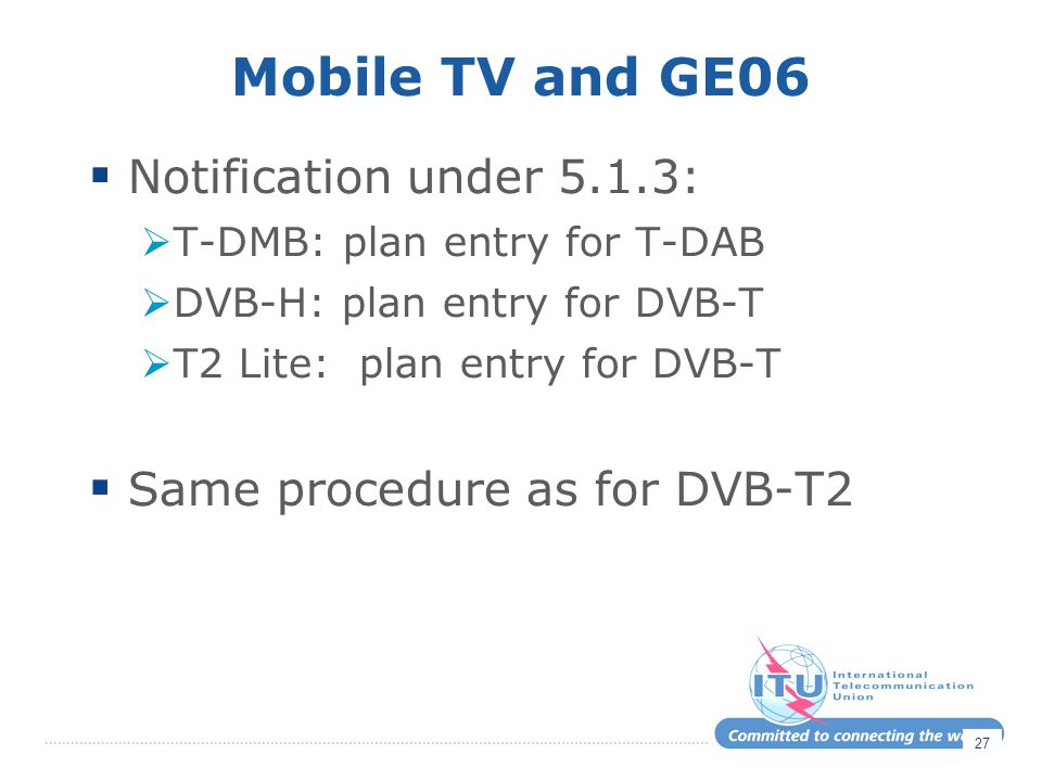 Mobile TV and GE06 Notification under 5.1.3: