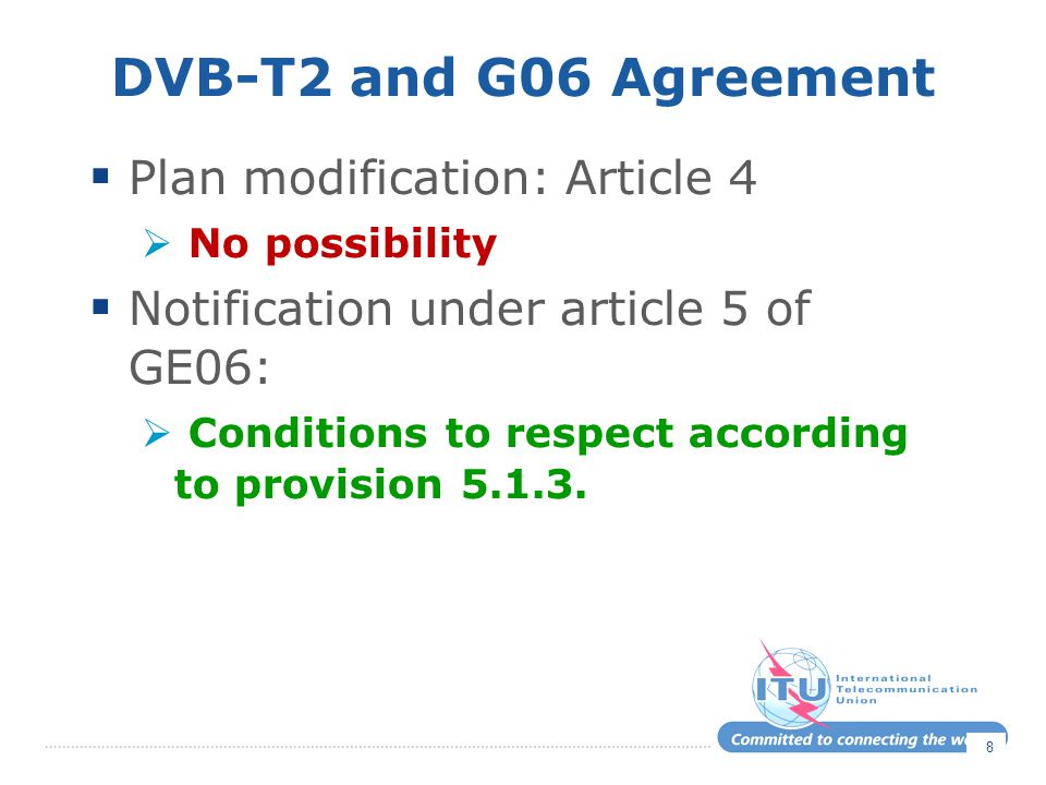 DVB-T2 and G06 Agreement Plan modification: Article 4