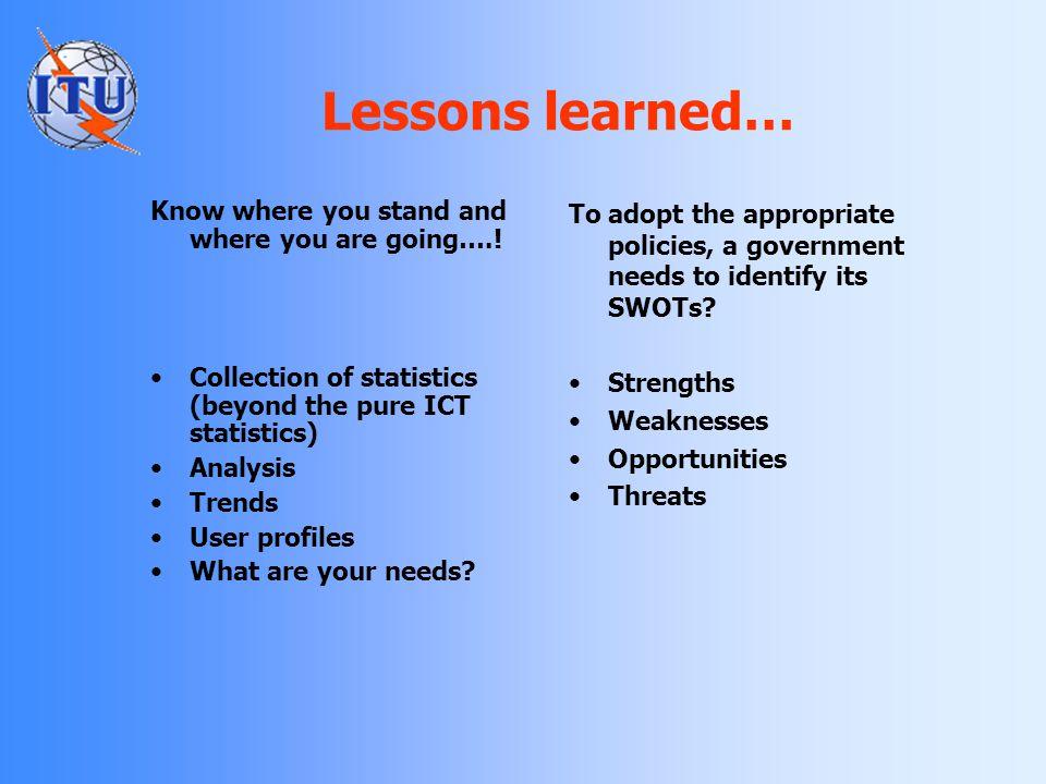 Lessons learned… Know where you stand and where you are going….!