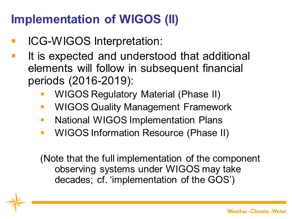 Implementation of WIGOS (II)