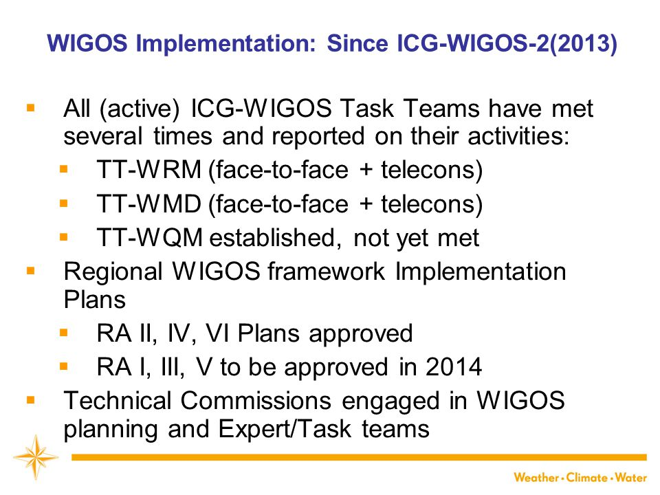 WIGOS Implementation: Since ICG-WIGOS-2(2013)