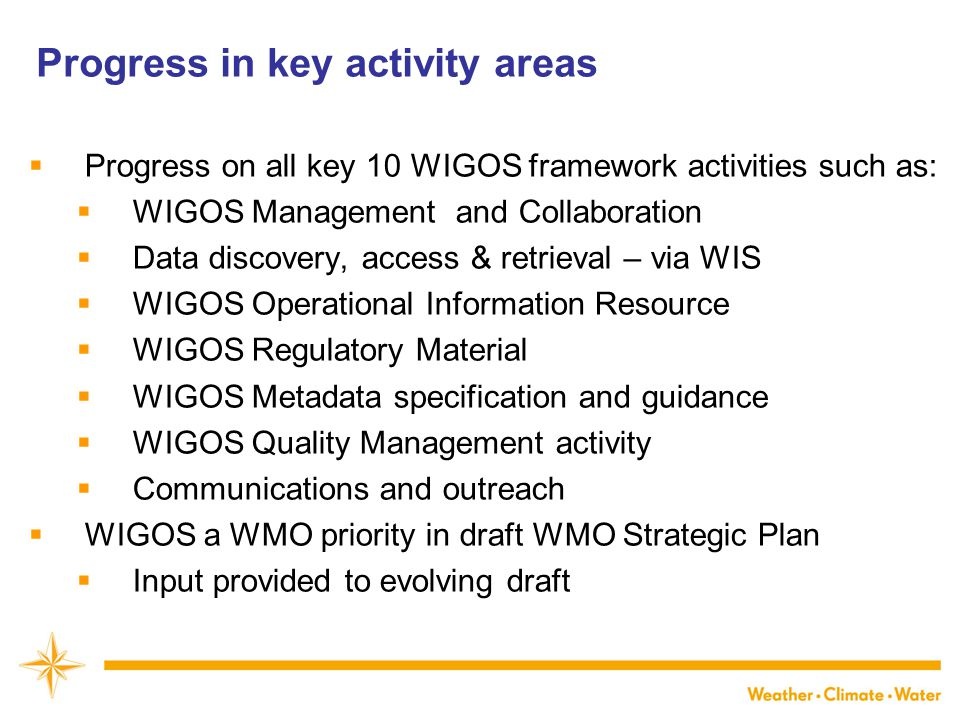Progress in key activity areas