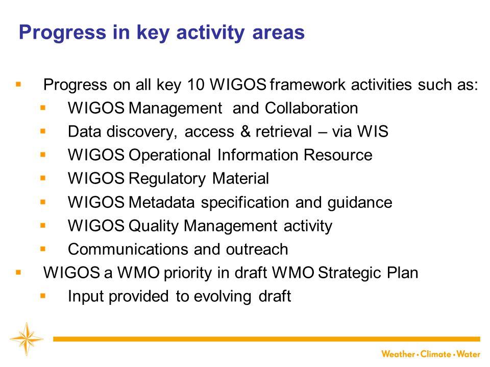 Progress in key activity areas