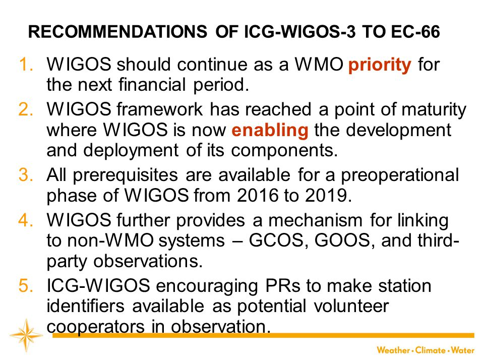 RECOMMENDATIONS OF ICG-WIGOS-3 TO EC-66