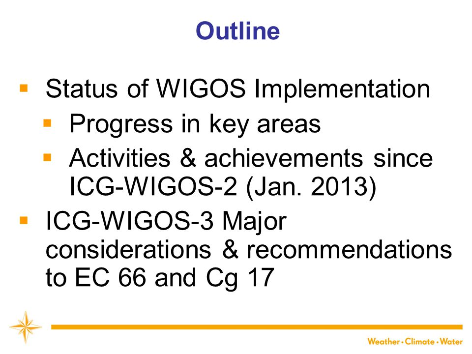 Status of WIGOS Implementation Progress in key areas