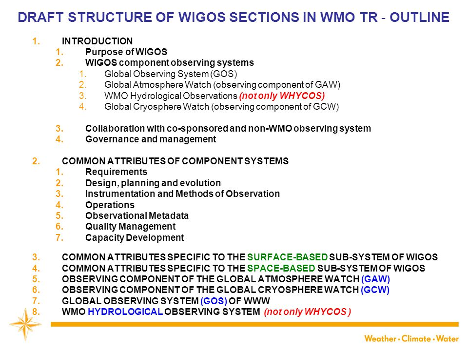 DRAFT STRUCTURE OF WIGOS SECTIONS IN WMO TR - OUTLINE