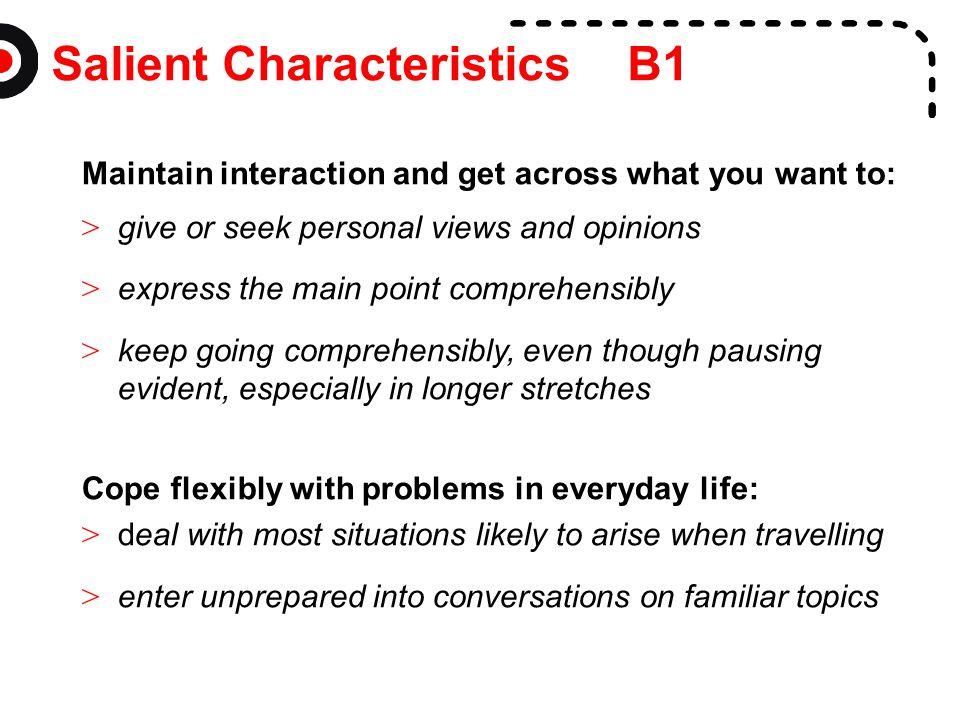 Salient Characteristics B1