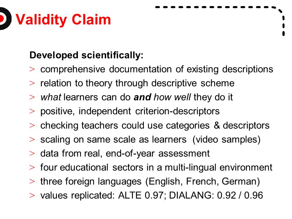 Validity Claim Developed scientifically: