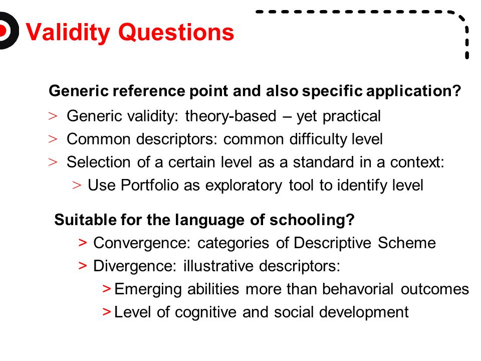 Validity Questions Generic reference point and also specific application Generic validity: theory-based – yet practical.