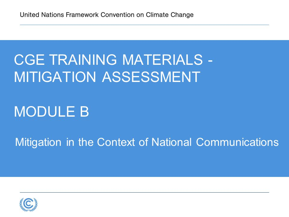 CGE Training materials - Mitigation Assessment Module B