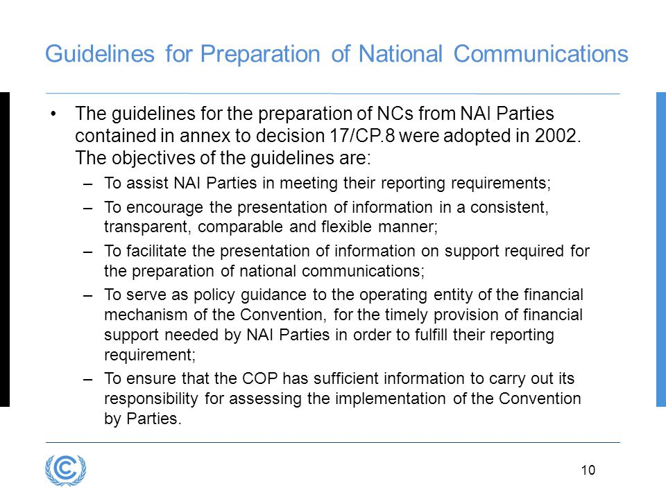 Guidelines for Preparation of National Communications