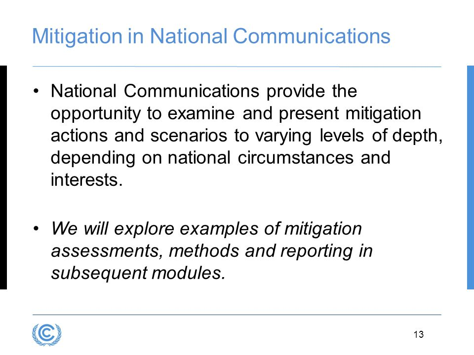 Mitigation in National Communications