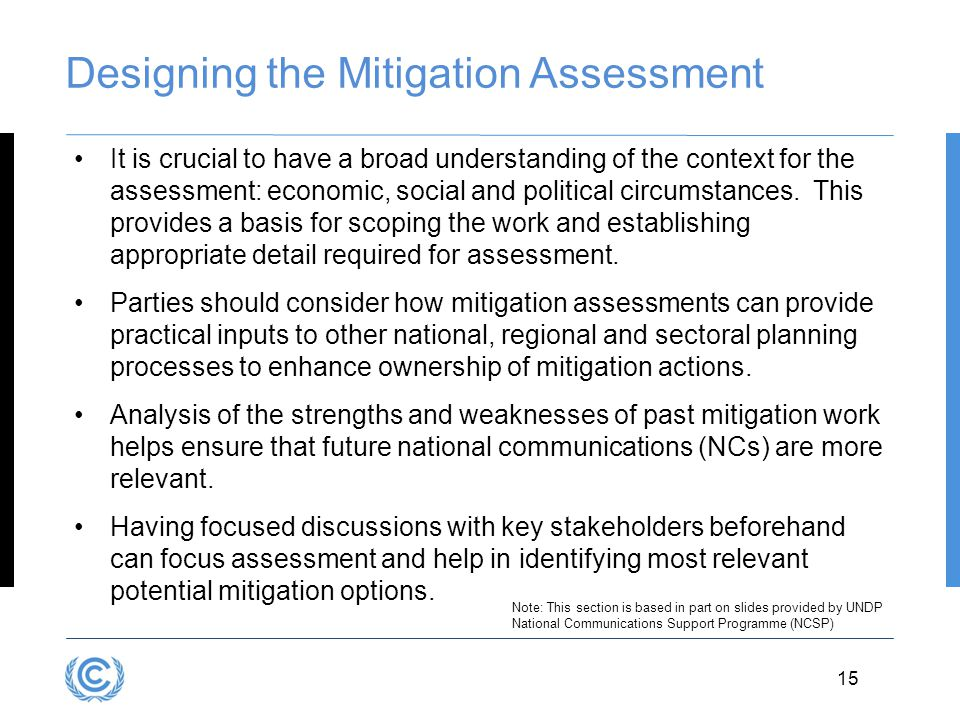 Designing the Mitigation Assessment