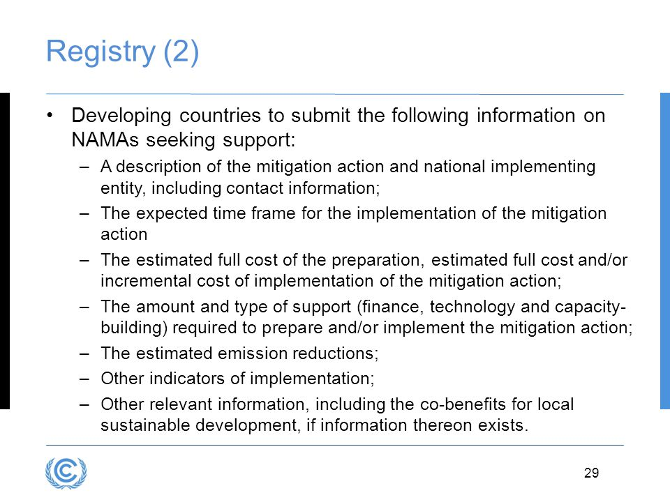 Registry (2) Developing countries to submit the following information on NAMAs seeking support: