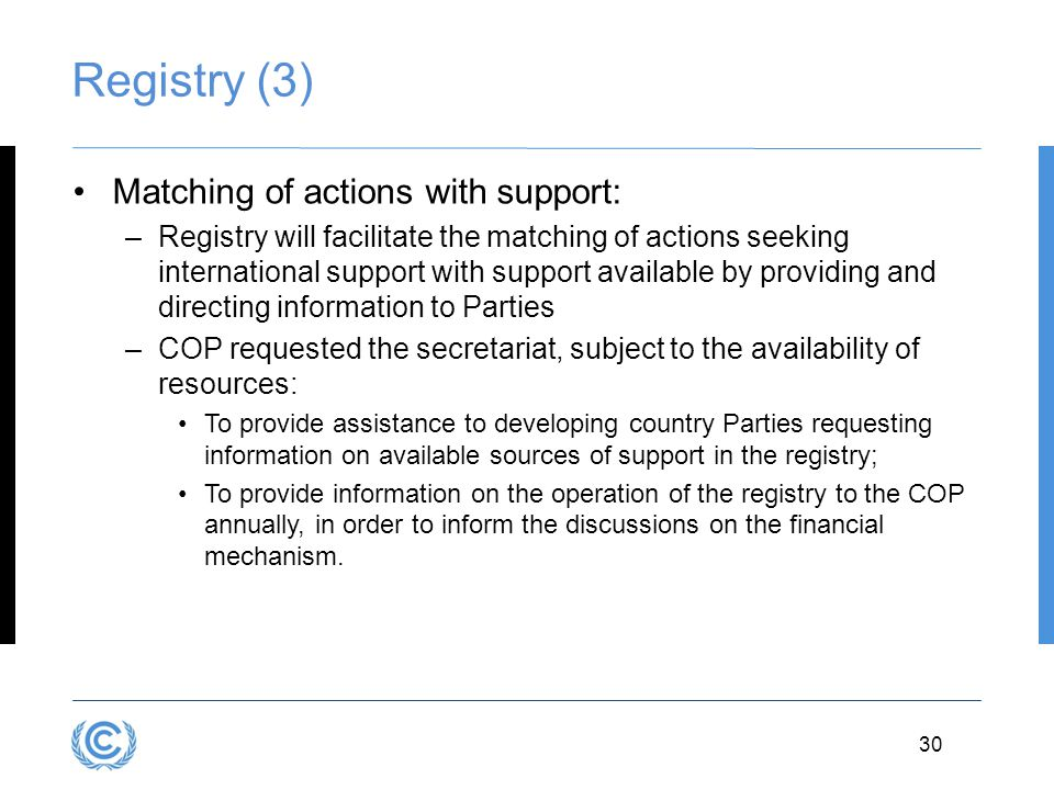 Registry (3) Matching of actions with support: