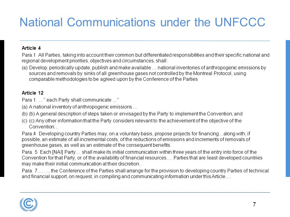 National Communications under the UNFCCC