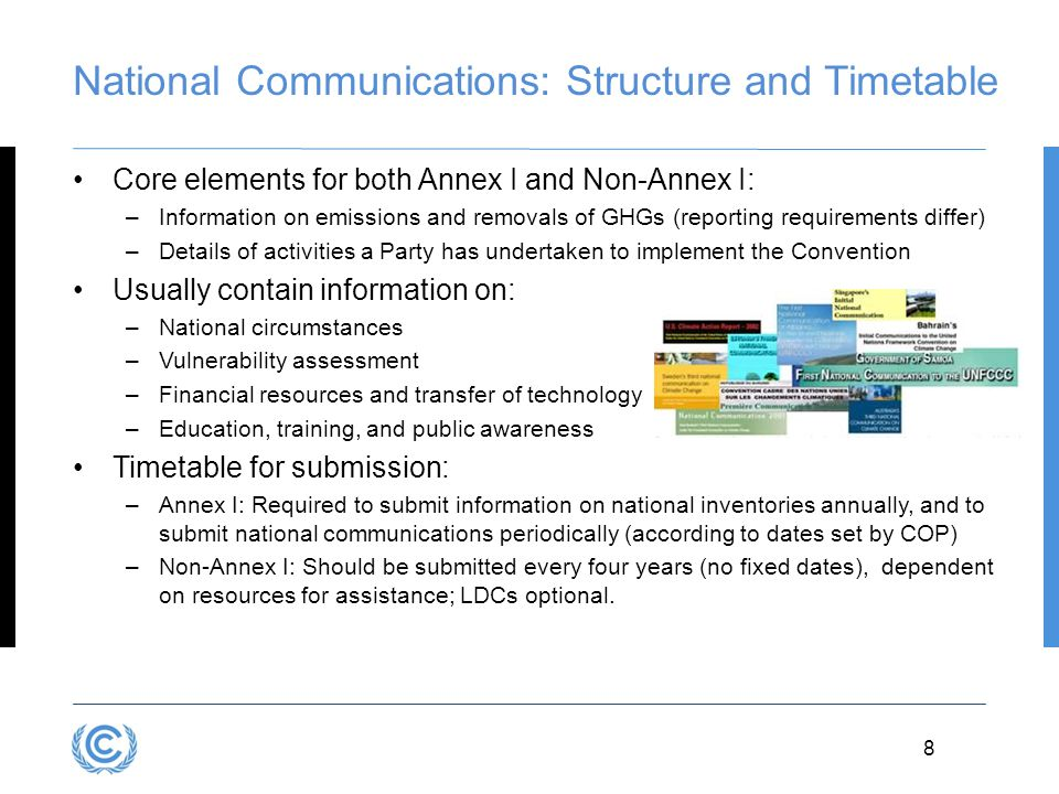 National Communications: Structure and Timetable
