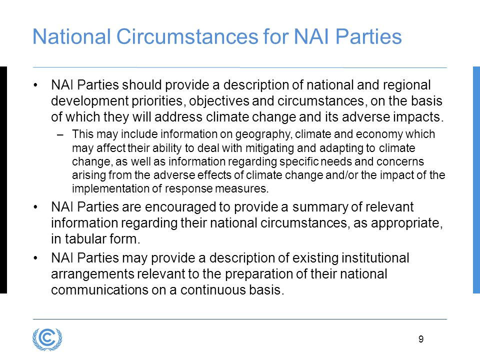 National Circumstances for NAI Parties