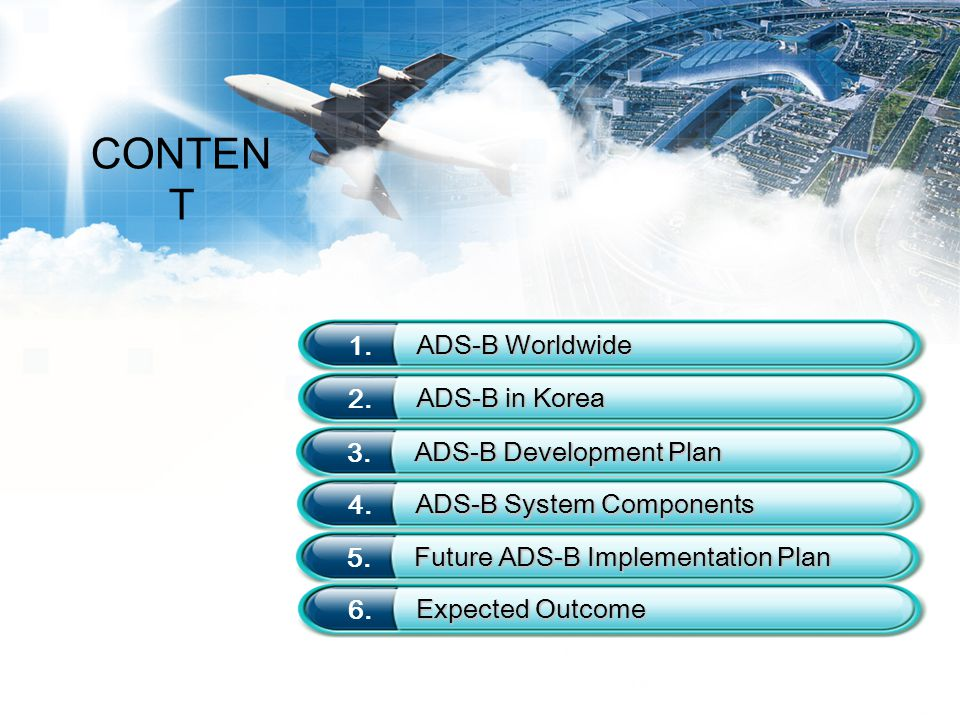 CONTENT 1. ADS-B Worldwide 2. ADS-B in Korea 3. ADS-B Development Plan