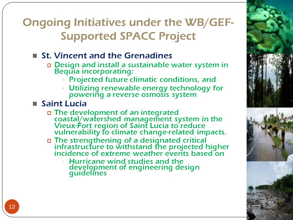 Ongoing Initiatives under the WB/GEF-Supported SPACC Project