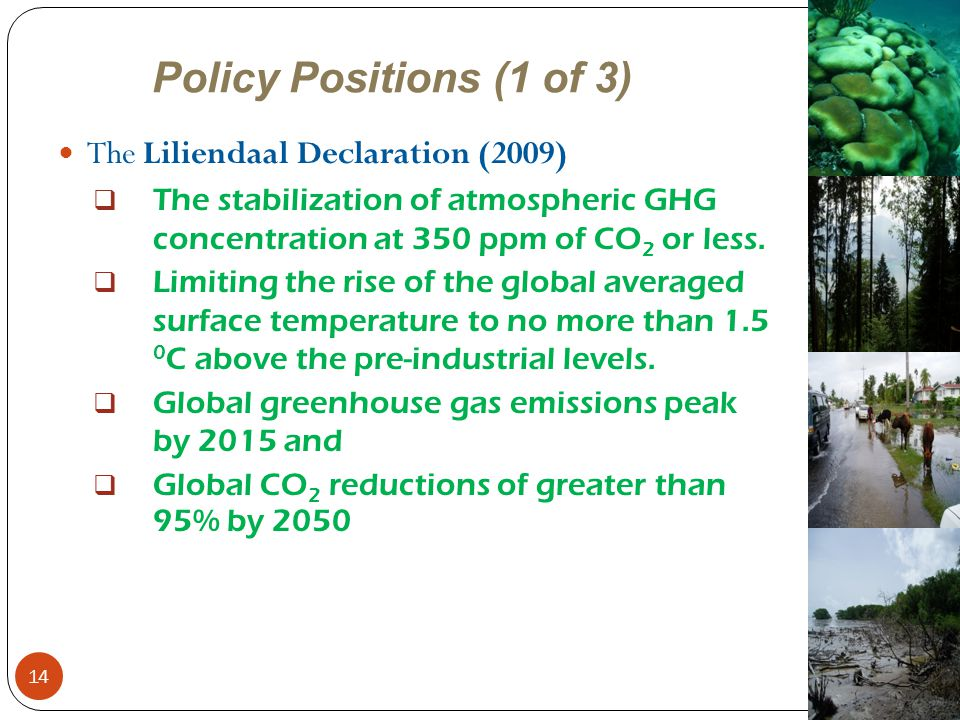 Policy Positions (1 of 3) The Liliendaal Declaration (2009)