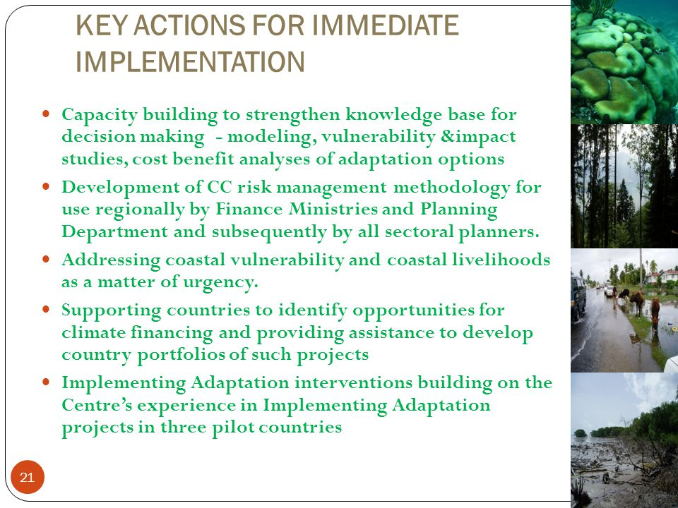 KEY ACTIONS FOR IMMEDIATE IMPLEMENTATION