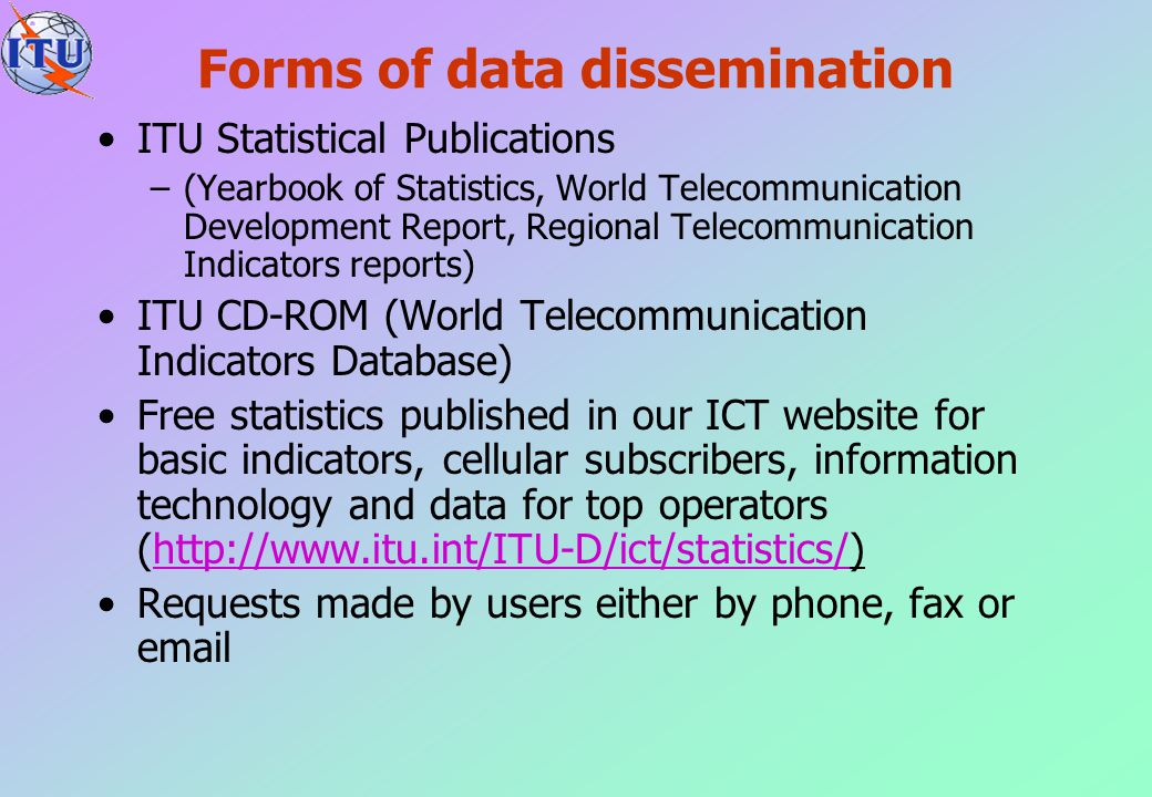 Forms of data dissemination