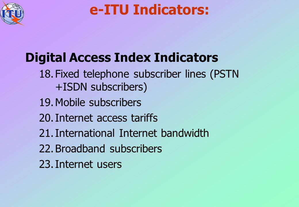 e-ITU Indicators: Digital Access Index Indicators