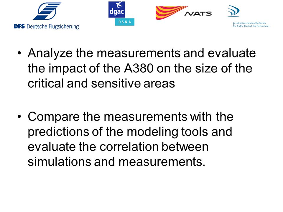 Analyze the measurements and evaluate the impact of the A380 on the size of the critical and sensitive areas