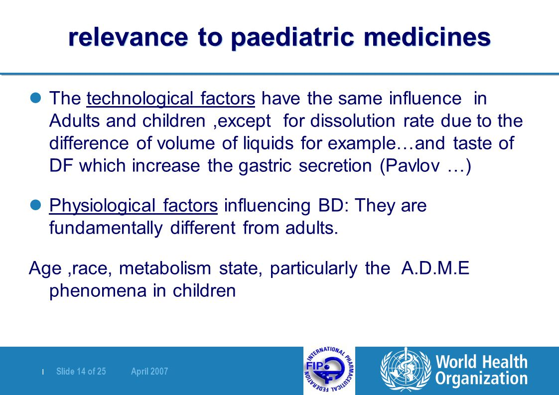 relevance to paediatric medicines