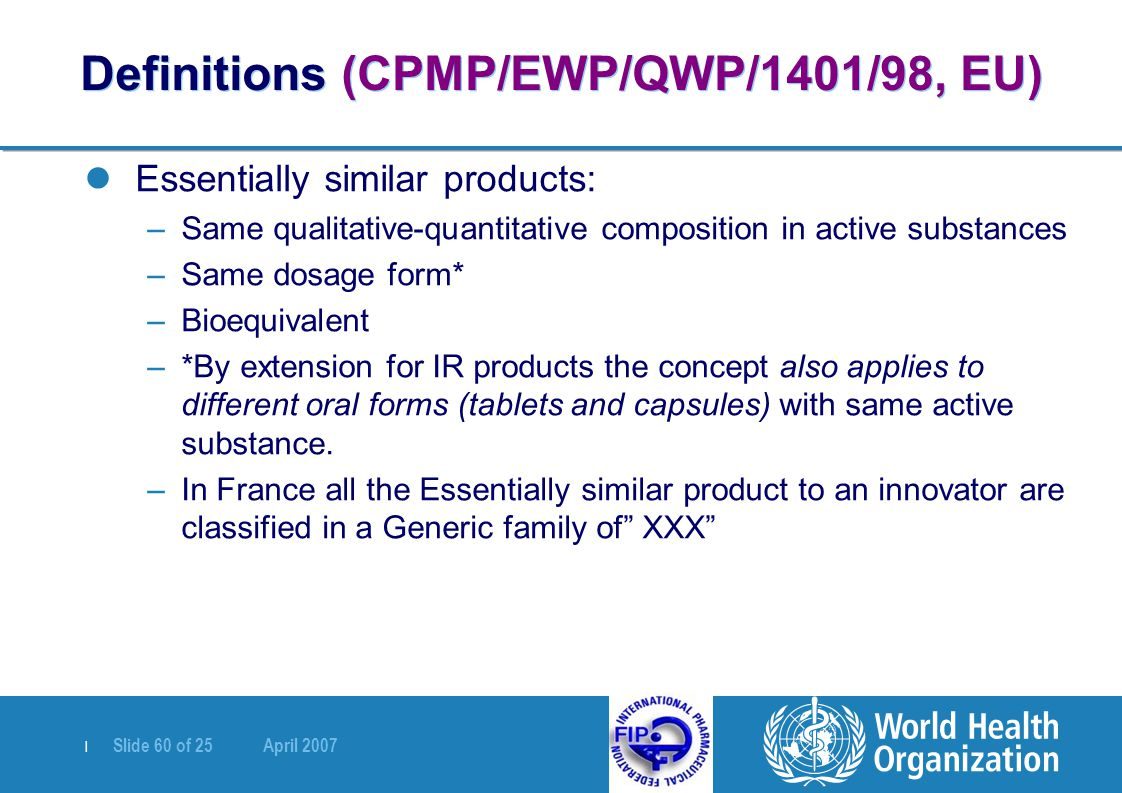Definitions (CPMP/EWP/QWP/1401/98, EU)