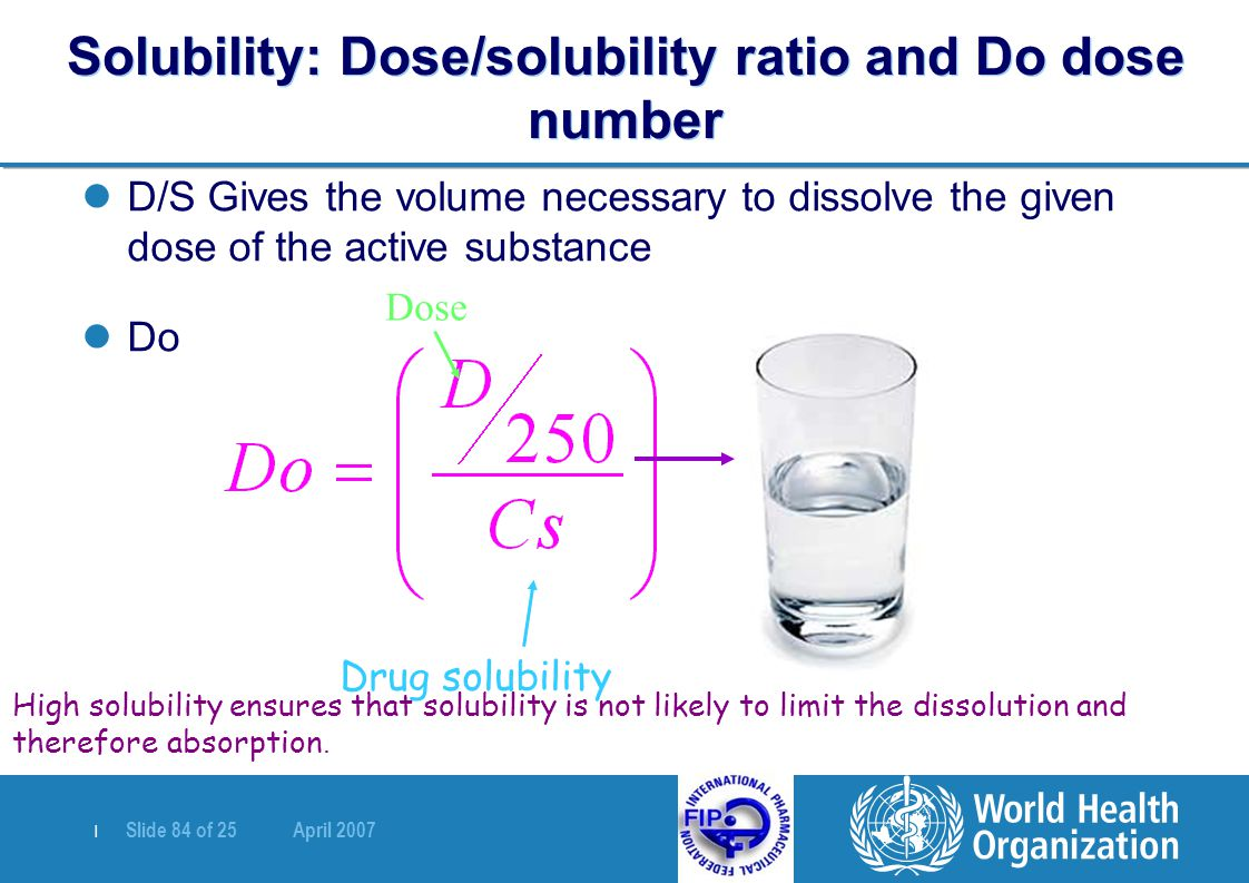Solubility: Dose/solubility ratio and Do dose number